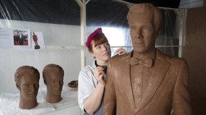 Chocolatier Jen Lindsay-Clark makes final adjustments to a life-size chocolate sculpture of Benedict Cumberbatch Life-size chocolate Benedict Cumberbatch to promote launch of TV channel 'Drama' on uktvplay.co.uk, Britain - 01 Apr 2015 A life-size chocolate sculpture of Benedict Cumberbatch has been created to celebrate the launch of television channel 'Drama' on the new on-demand service uktvplay.co.uk. It follows a national poll which named Benedict as Britain's dishiest television drama actor, just in time for Easter. It took a crew of eight people over 250 man hours to create the sculpture, which weighs 40kg. The statue will be displayed at Westfield Stratford on Friday 3rd April. (Rex Features via AP Images)